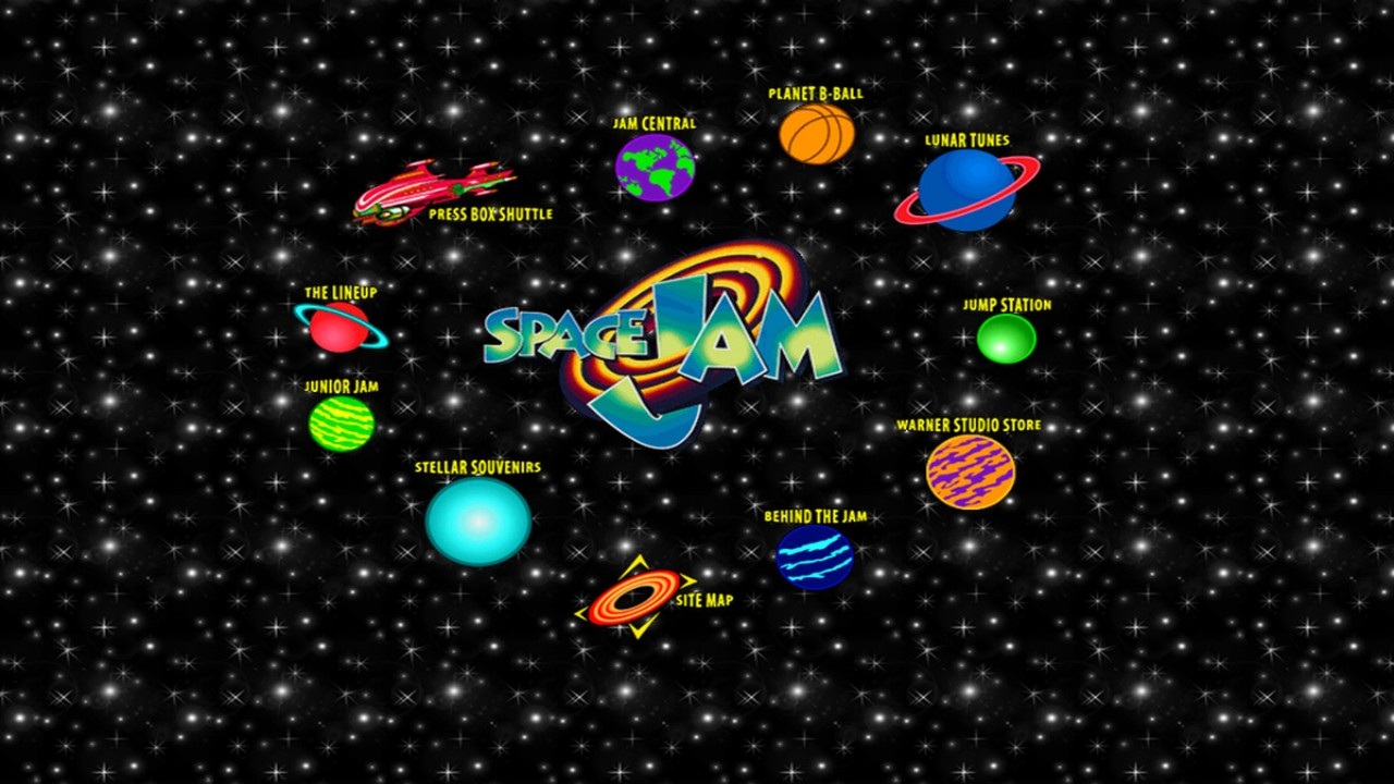 O Homesite original do site oficial de Space Jam